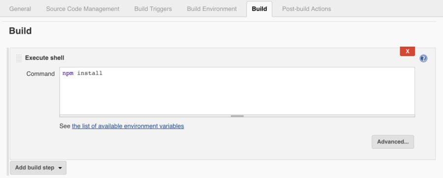 Jenkins Node.js Build Step