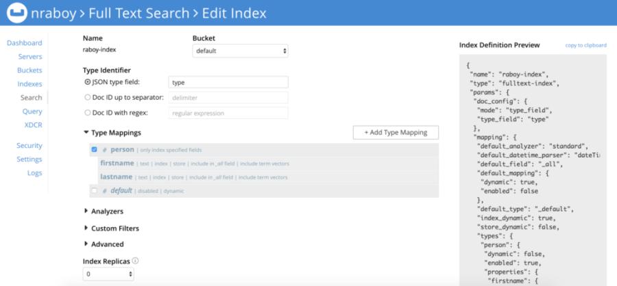 Couchbase FTS Index Creation
