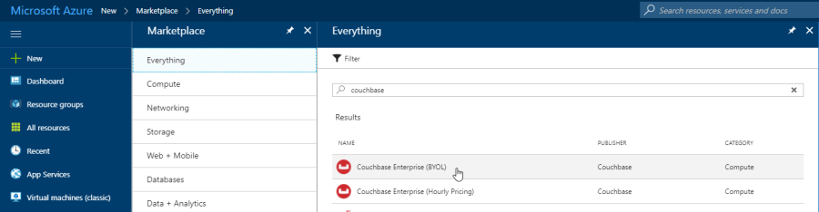Couchbase in the Azure Marketplace