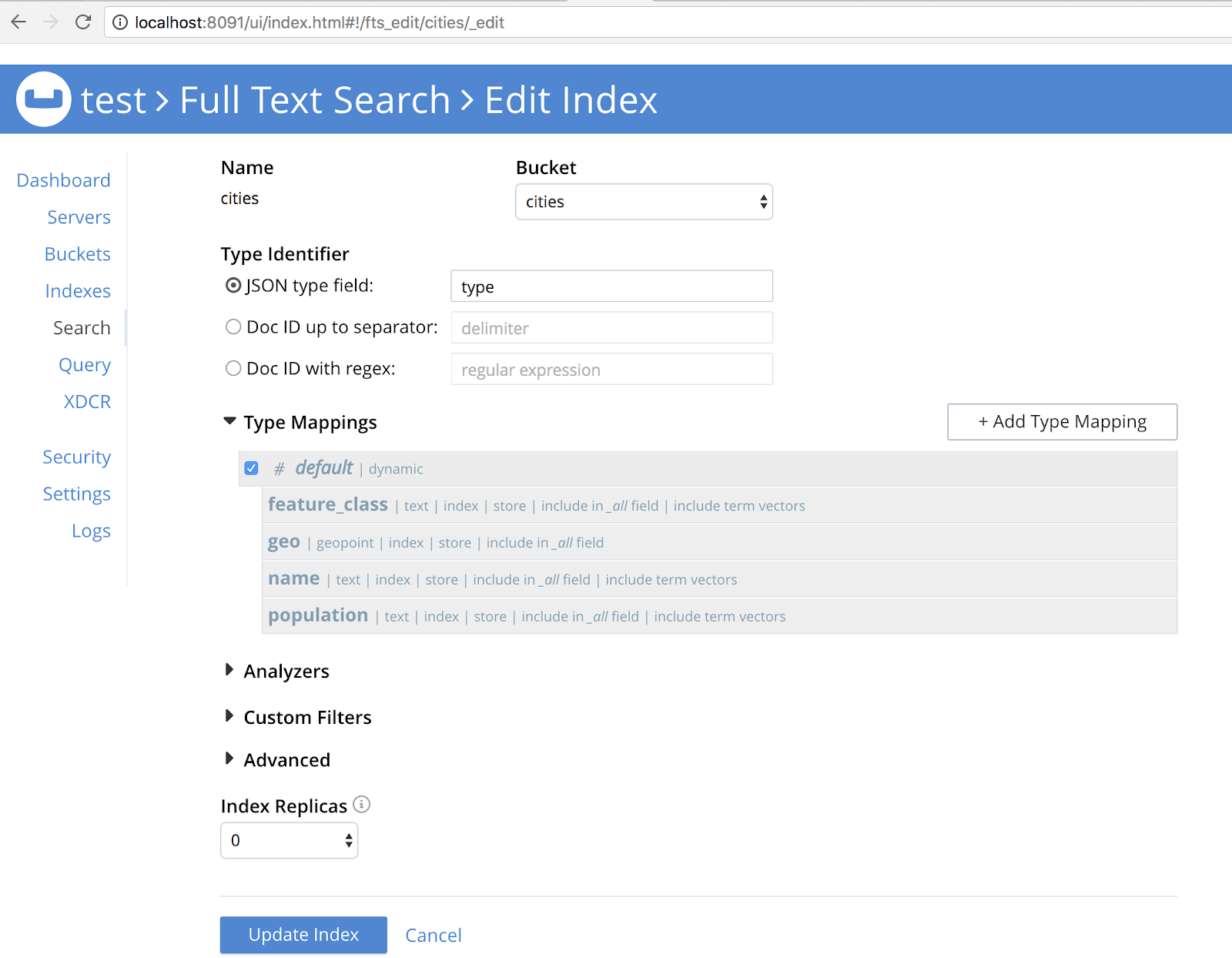 Configuring a geopoint type in the Couchbase search web GUI. That field contains GeoJSON point data.