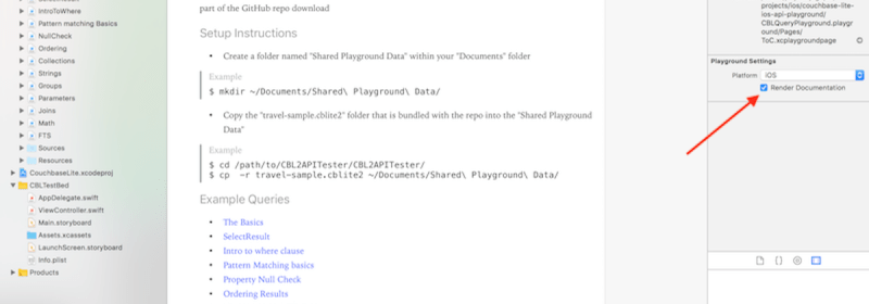 Xcode Playground for Exploring Query API in Couchbase Lite 2.0