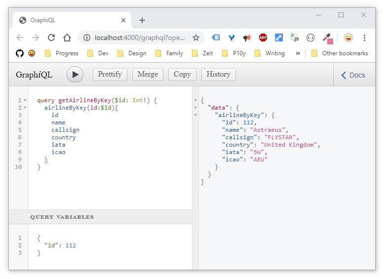 GraphQL with Express GraphiQL demo UK airline by key