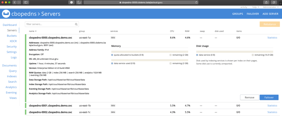 Publicly addressable Couchbase cluster