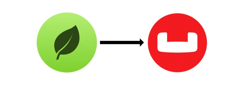 Two logos showing a MongoDB migration to Couchbase