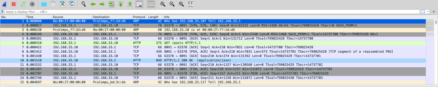 A wireshark trace without a filter
