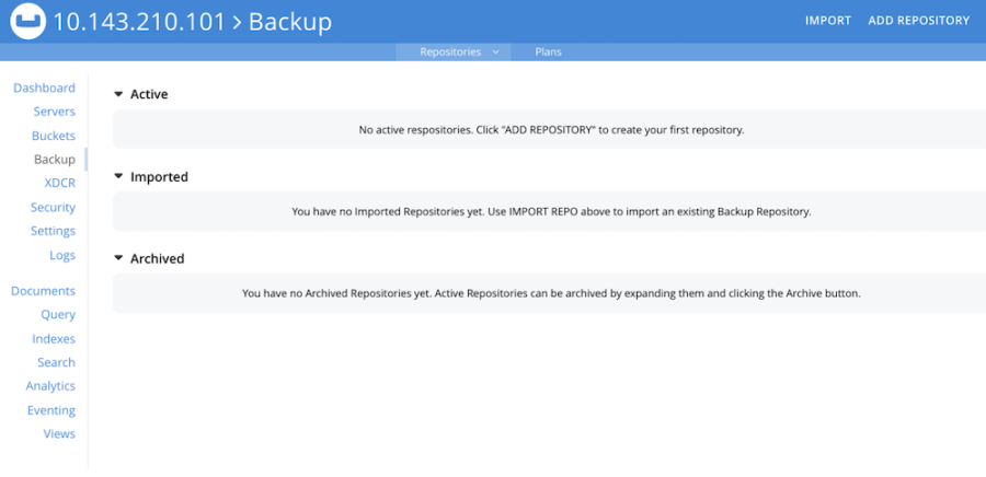 The UI for the new Couchbase Backup Service