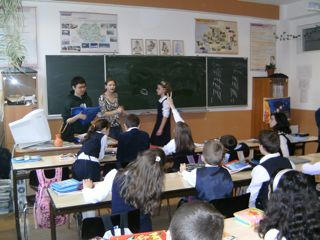 Britt co-teaching English to the Romainian kids.