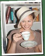 Britt sipping tea