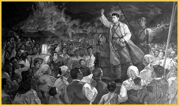 Kim Il Sung indicates the way to national liberation after the Pochonbo Battle