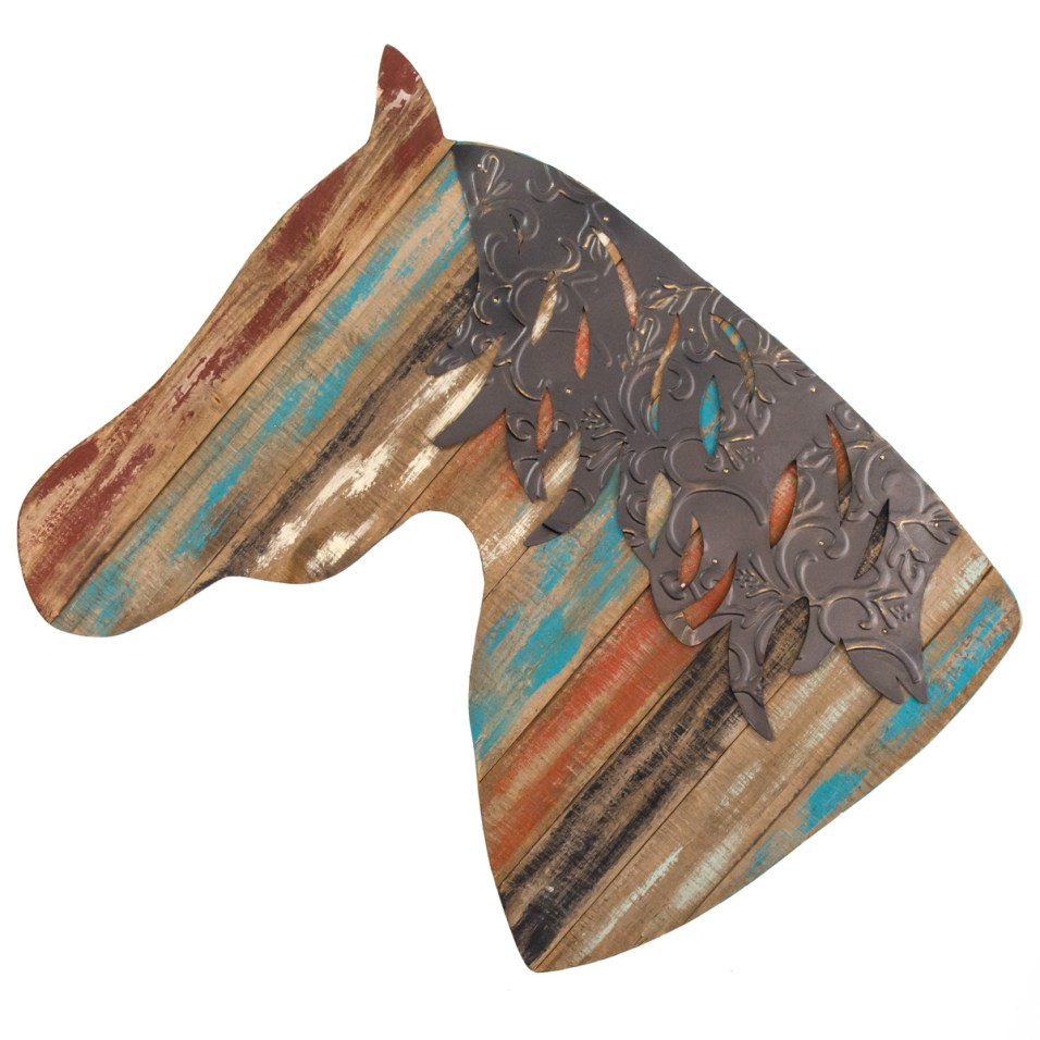 Wooden Horse Head Wall Decor