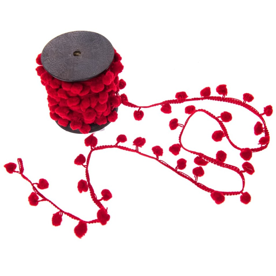 Red Pom-Pom Ribbon 10-Yard Spool