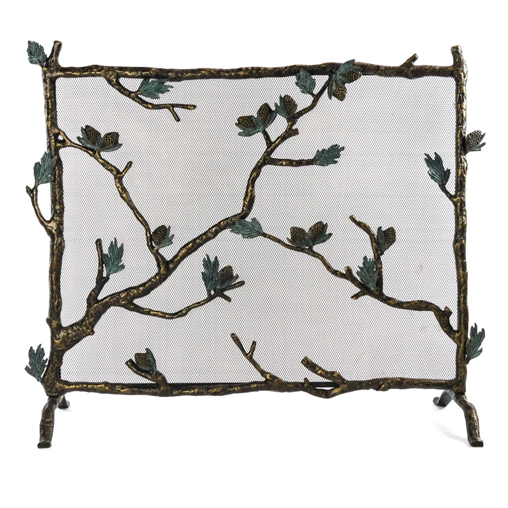 Aluminum Branch and Pinecone Fireplace Screen