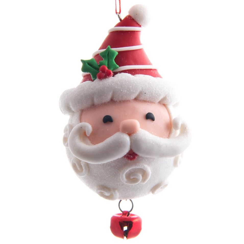 Claydough Santa Head with Jingle Bell Ornament