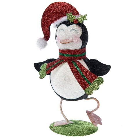 Glitter Penguin In Santa Hat