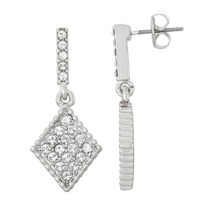Swarovski Crystal Diamond Earring - Rhodium