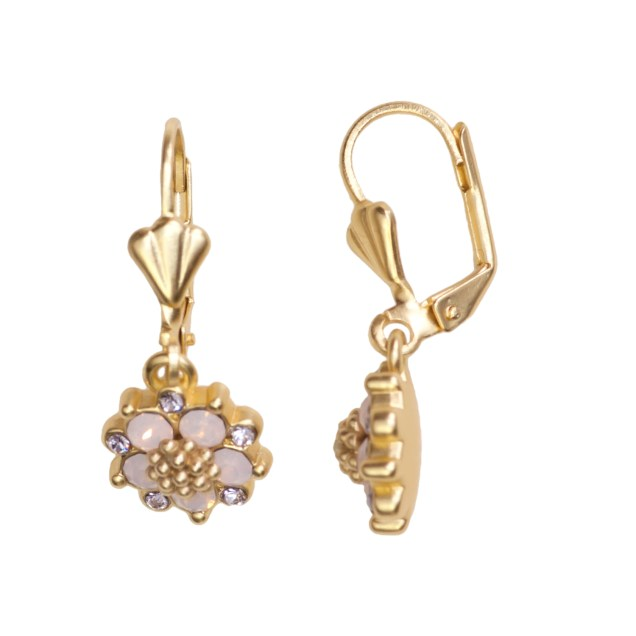Swarovski Crystal Pink Flower Earring - 14K Gold