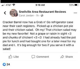 Cracker Barrel Grab n Go Testimonial