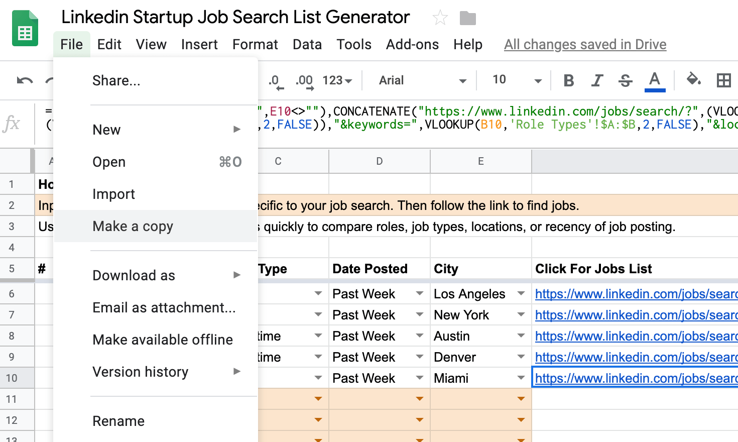 TEMPLATE: Linkedin Startup Job Search List Generator – Make a Copy Help