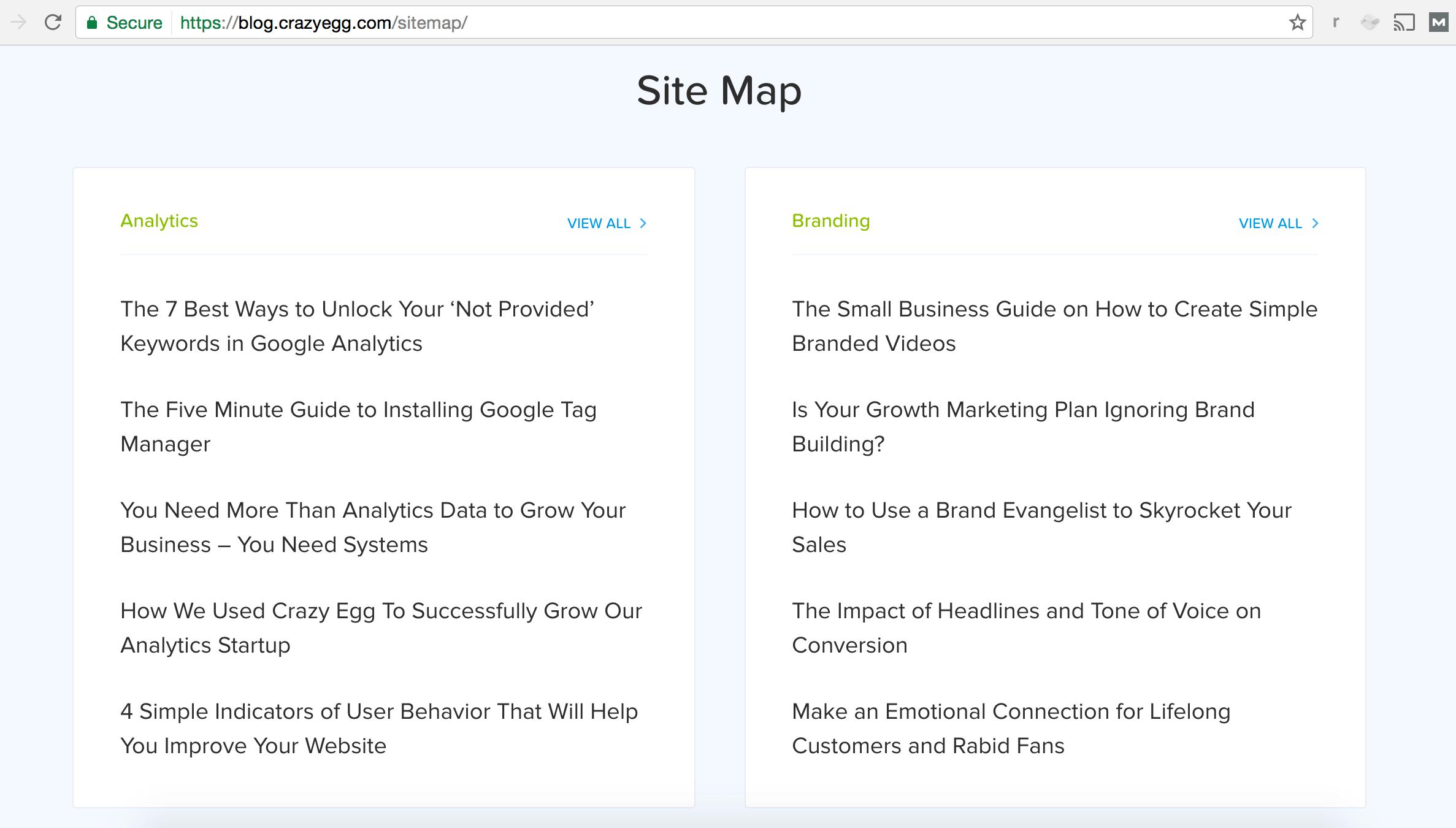 crazy egg blog site map