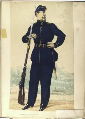 """""""Caçador à pé, uniforme pequeno de inverno"""". Da Coleção Vinkhuijzen de uniformes militares. New York Public Library, domínio público. (Foto: Reprodução/Biblioteca Pública de Nova Iorque)"""