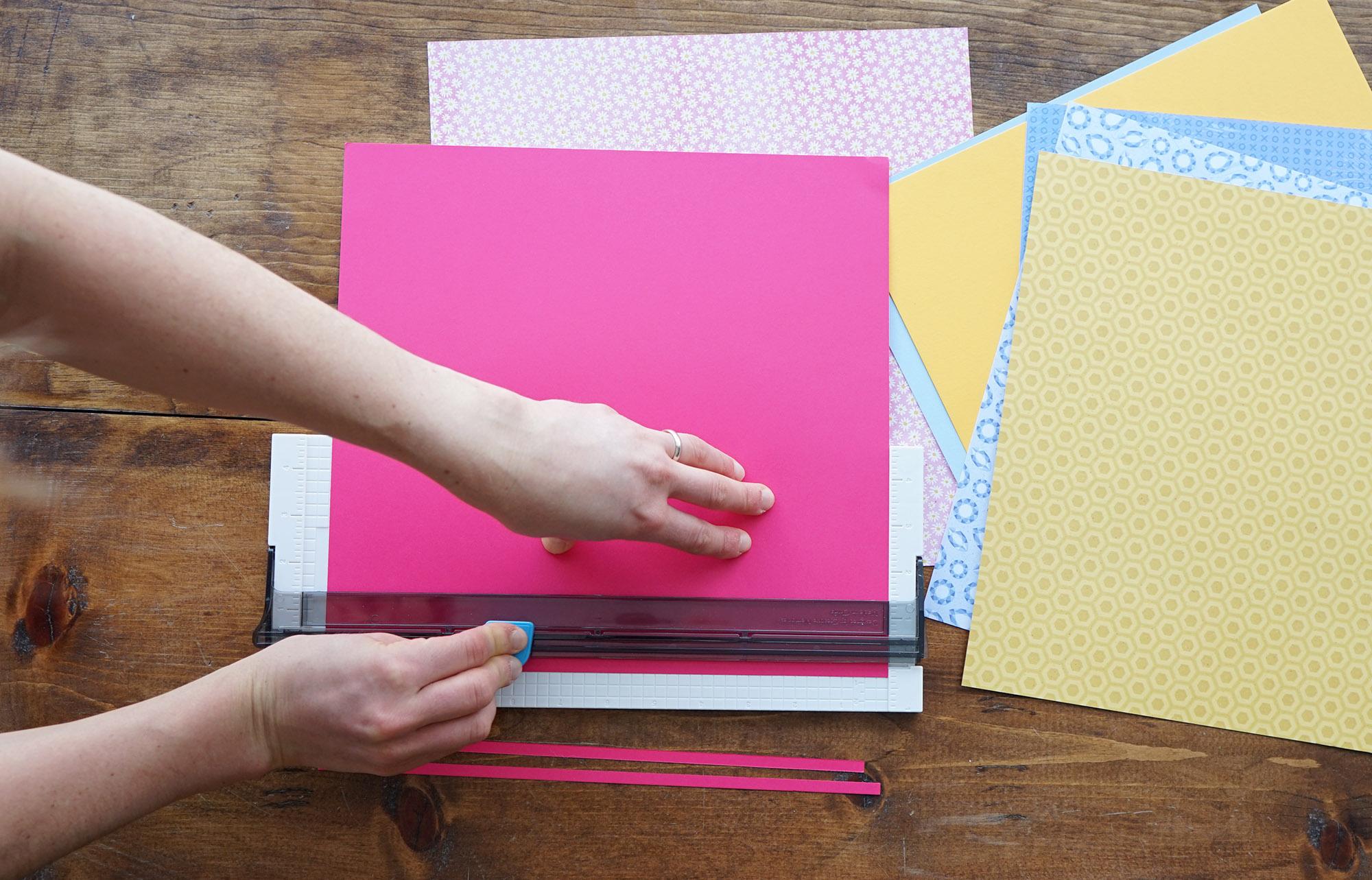 Cutting Raspberry Cardstock Strips