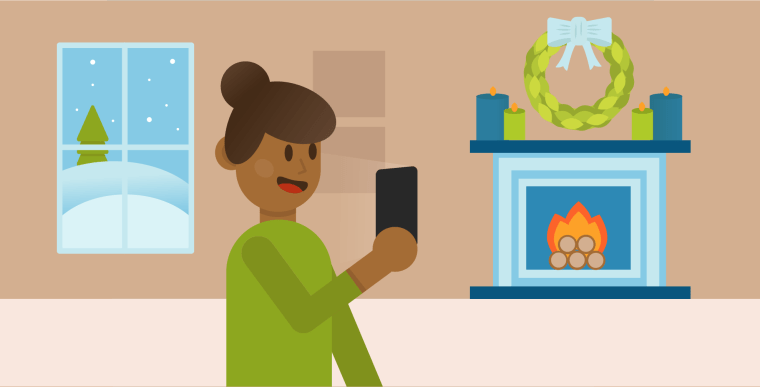 Illustration of a woman making a video call on her cell phone with a snowy scene outside her window and a cozy fireplace in the background