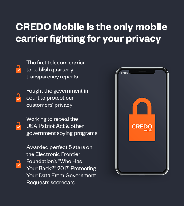 Image with proof points on why CREDO Mobile is the only mobile carrier fighting for your privacy