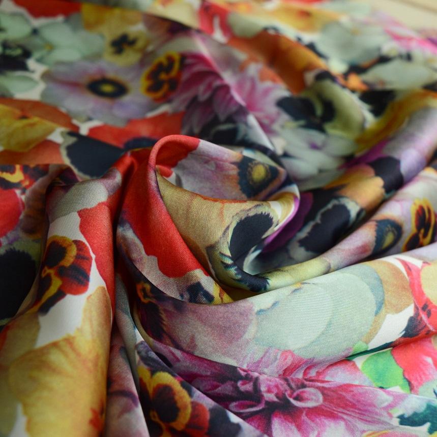 Silky Satin Bloom Boom Floral Polyester Satin Cu