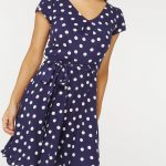 Billie & Blossom Navy Spot Viscose Dress - Dorothy Perkins