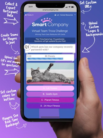 The Crowdpurr Mobile View that allows participants to join on their mobile device