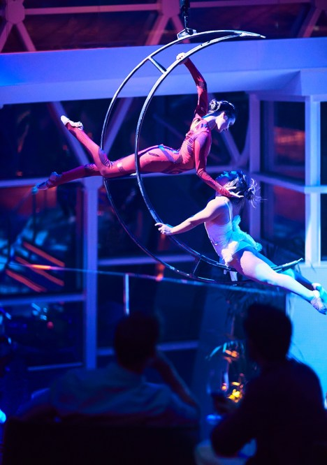 Aerial entertainers at Eden on Celebrity Edge and Apex