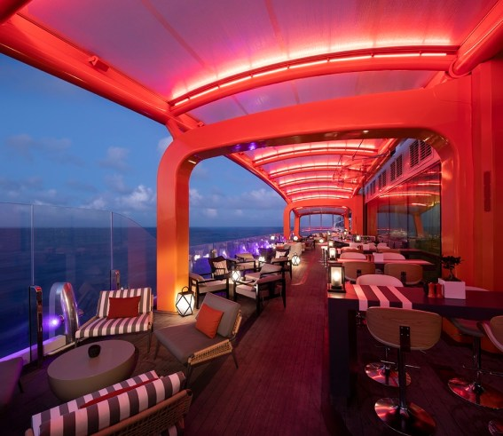 Celebrity Edge transformational Magic Carpet at night