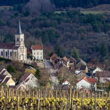 Village In Burgundy, France From Surrounding Vineyard