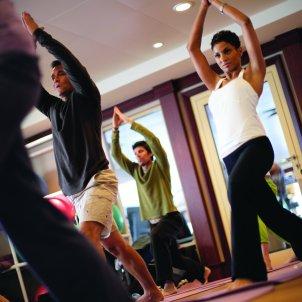 Yoga classes in Norwegian Cruise Line's fitness center