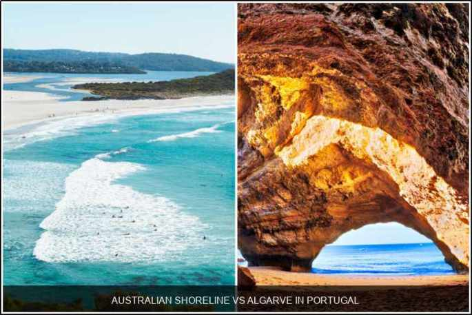 Australian shoreline vs. Algarve in Portugal