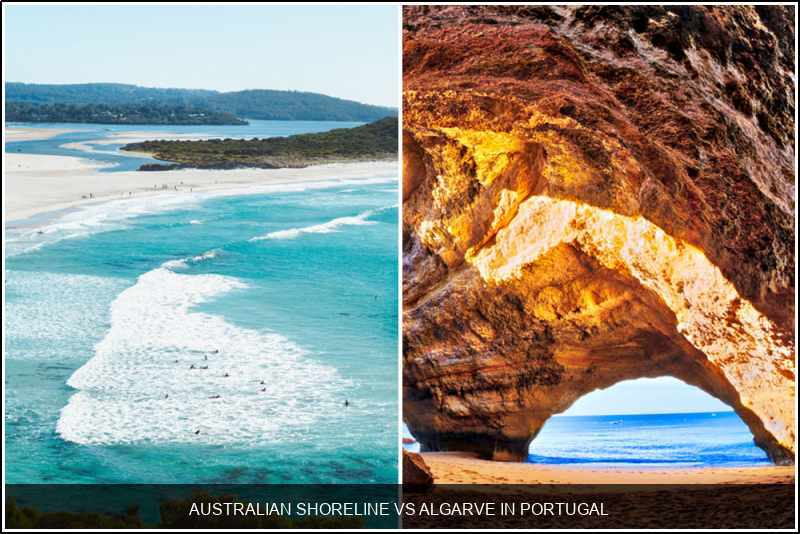 Australian shoreline vs. Algarve in Portugal