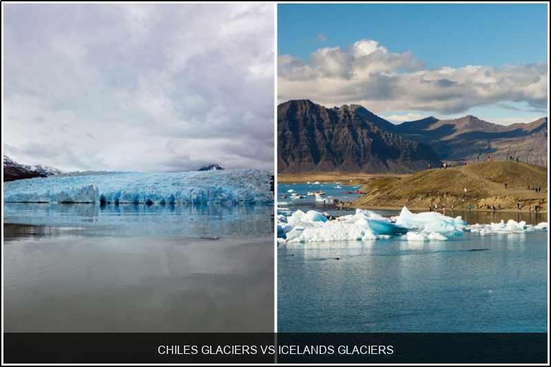 Chile's glaciers vs. Iceland's glaciers