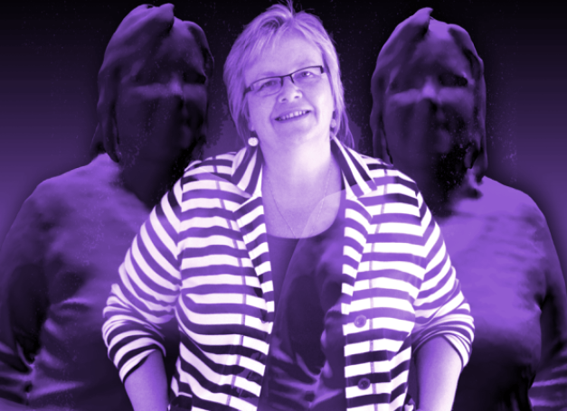 Electronic artwork showing artist Eleanor Gates-Stuart and reflections of her.