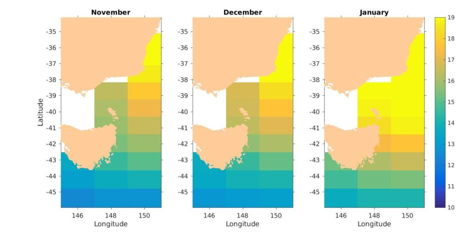Monthly forecast of ocean temperatures for the east coast of Tasmania for the coming months Author provided.