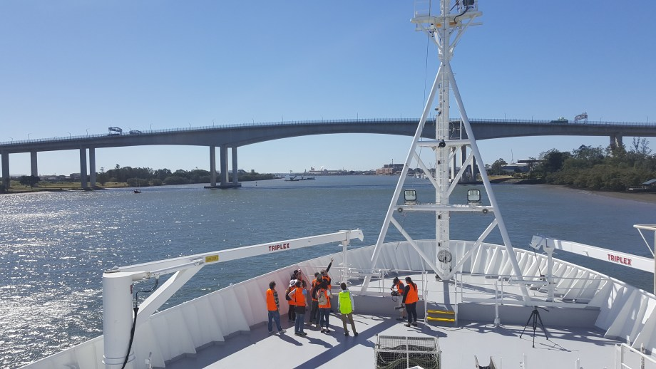 QUT students taking a tour of the RV Investigator before their floating classroom.