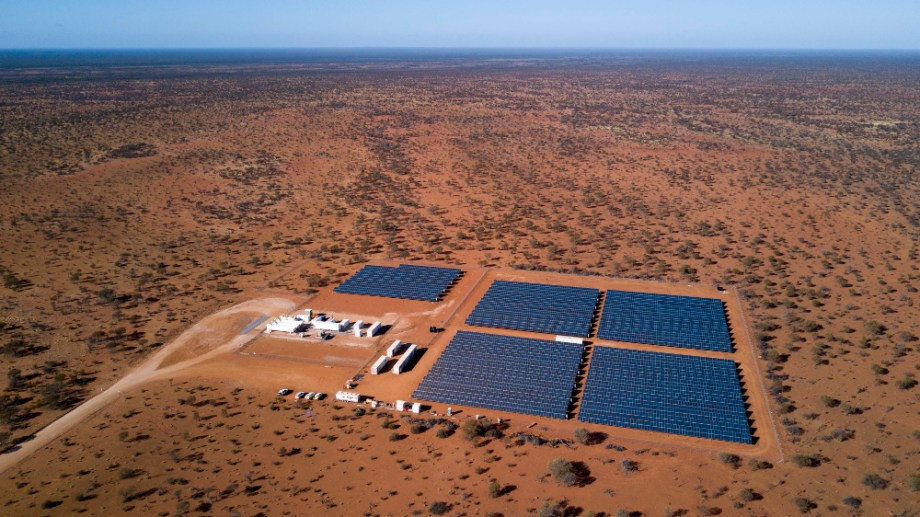 Field of solar panels in the West Australian outback