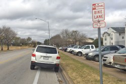 Don't park in a bike lane, even to simply use an automatic teller machine or while loading or unloading. Bike lanes must remain clear at all times.