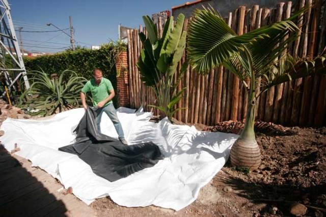 Geotextil para proteção do EPDM em nosso lago ornamental passo a passo