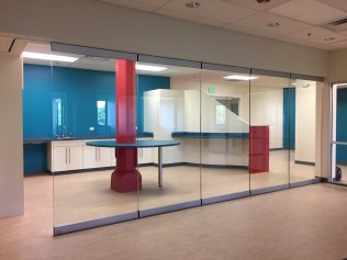Floor to Ceiling Glass in Beautiful Office Break Room