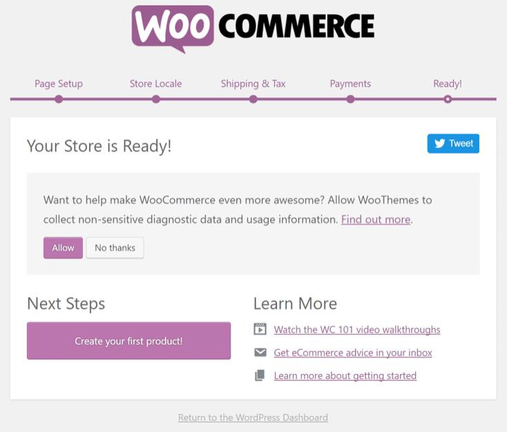 WooCommerce Setup complete