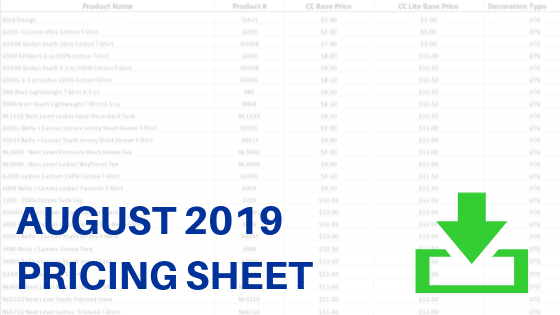August 2019 Pricing Sheet