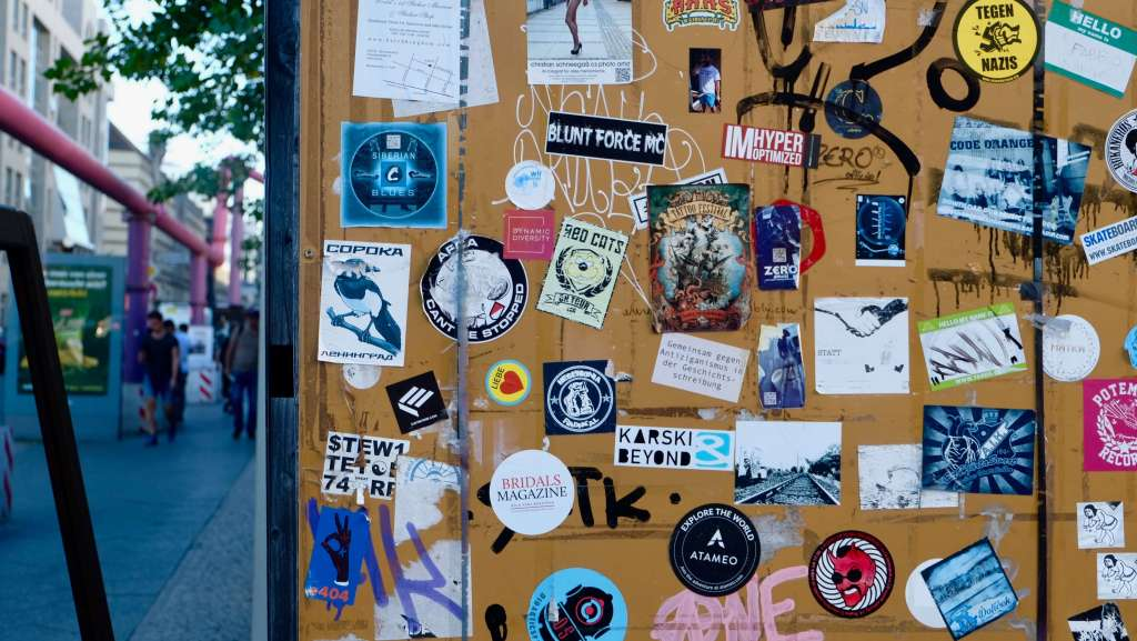 stickers on a wall