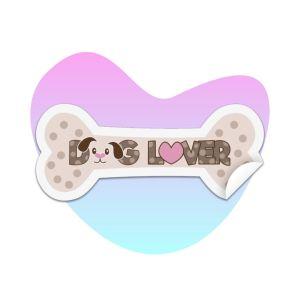 Dog Lover Bone Sticker on splash background