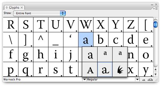 Glyphs OpenType Font
