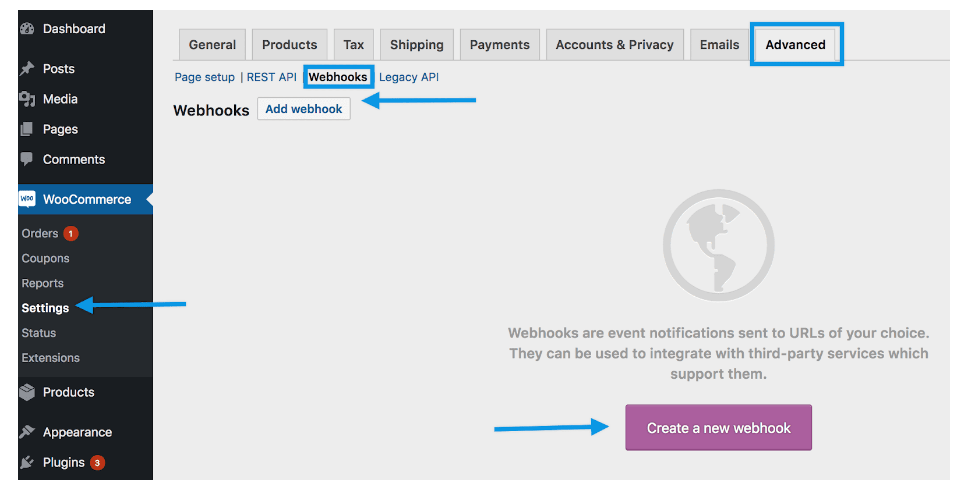 WooCommerce Wbhook Screenshot